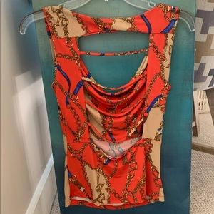 Sexy Open Back Backless Chain Print Red Top